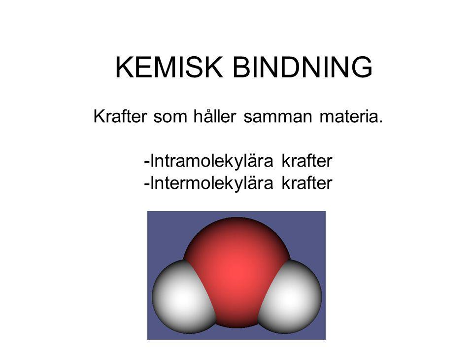 KEMISK BINDNING Krafter som håller samman materia.