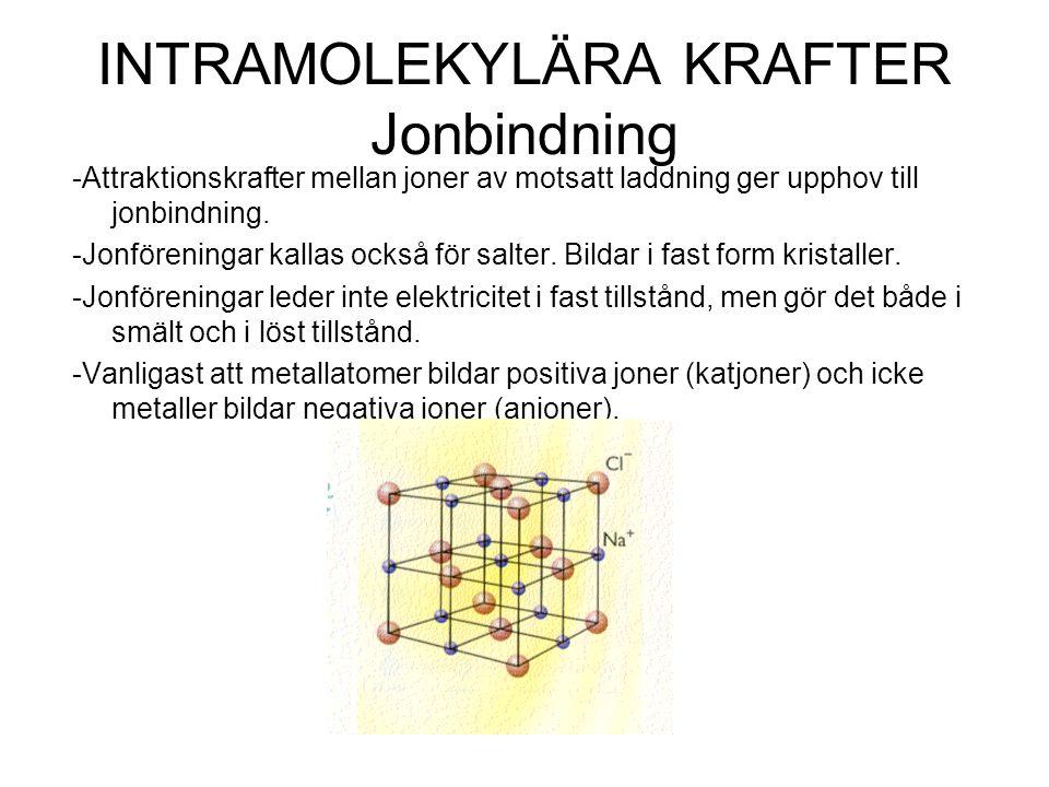 INTRAMOLEKYLÄRA KRAFTER Jonbindning