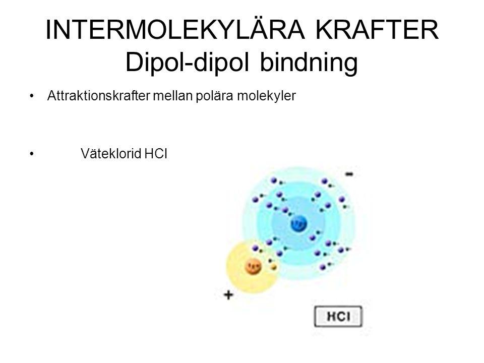 INTERMOLEKYLÄRA KRAFTER Dipol-dipol bindning