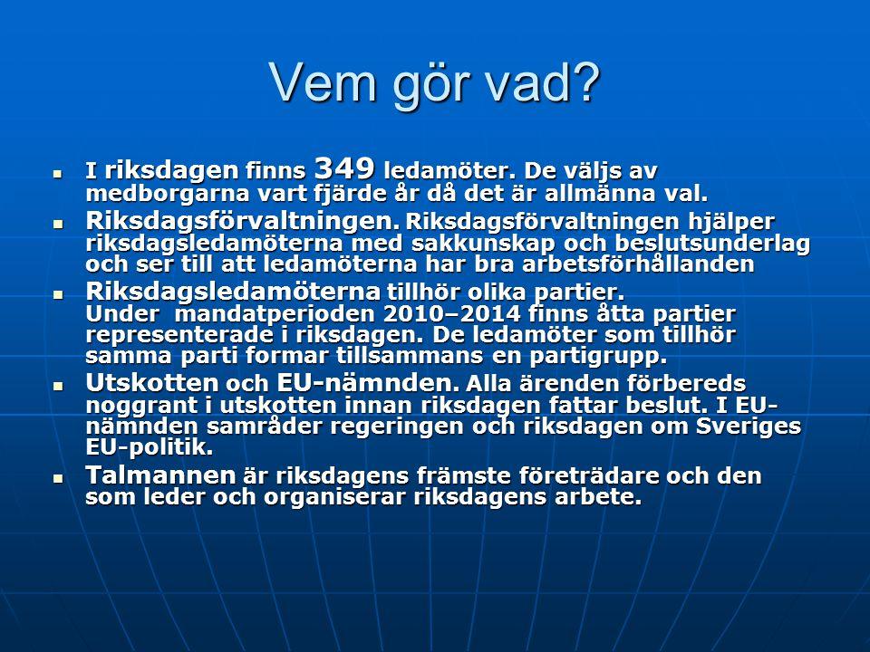 Vem gör vad I riksdagen finns 349 ledamöter. De väljs av medborgarna vart fjärde år då det är allmänna val.