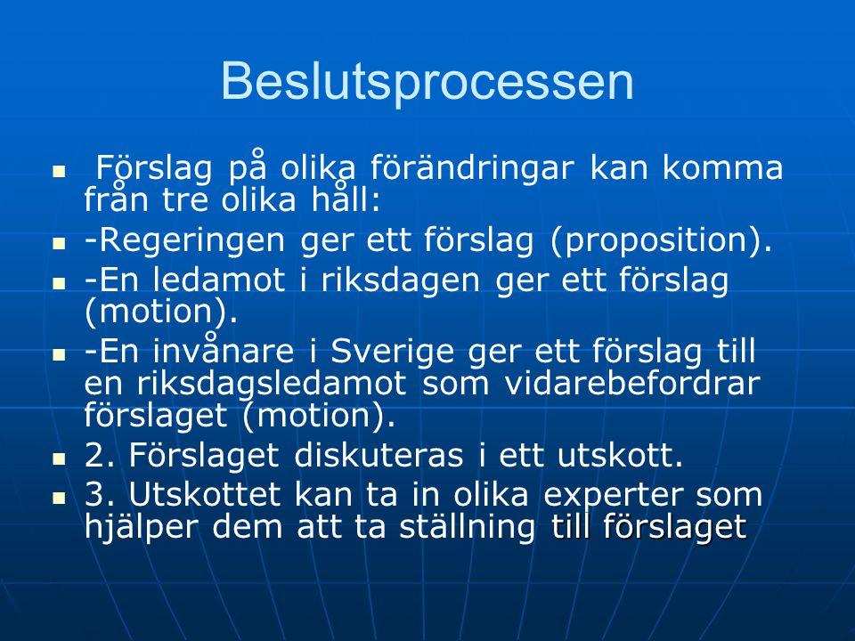Beslutsprocessen Förslag på olika förändringar kan komma från tre olika håll: -Regeringen ger ett förslag (proposition).