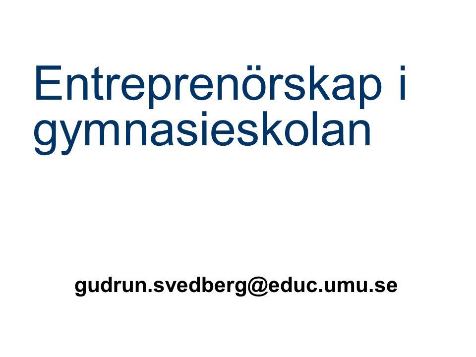 Entreprenörskap i gymnasieskolan