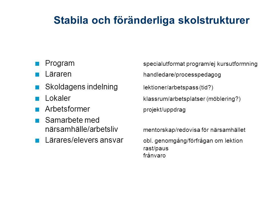 Stabila och föränderliga skolstrukturer