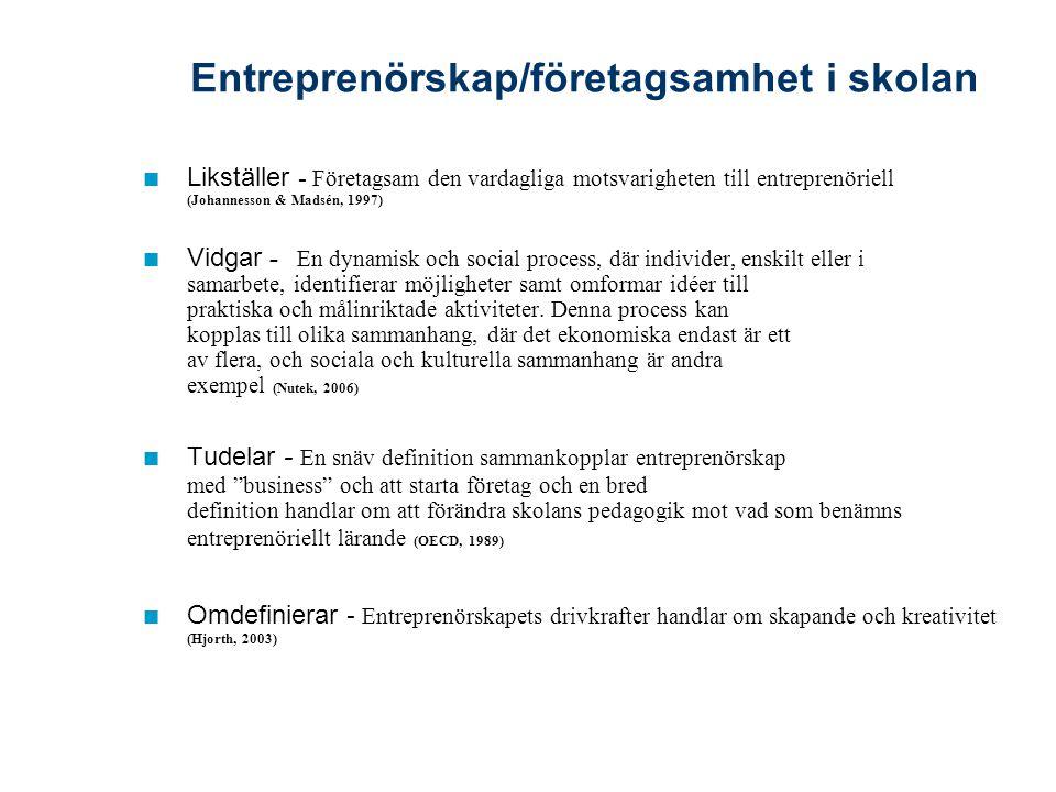 Entreprenörskap/företagsamhet i skolan