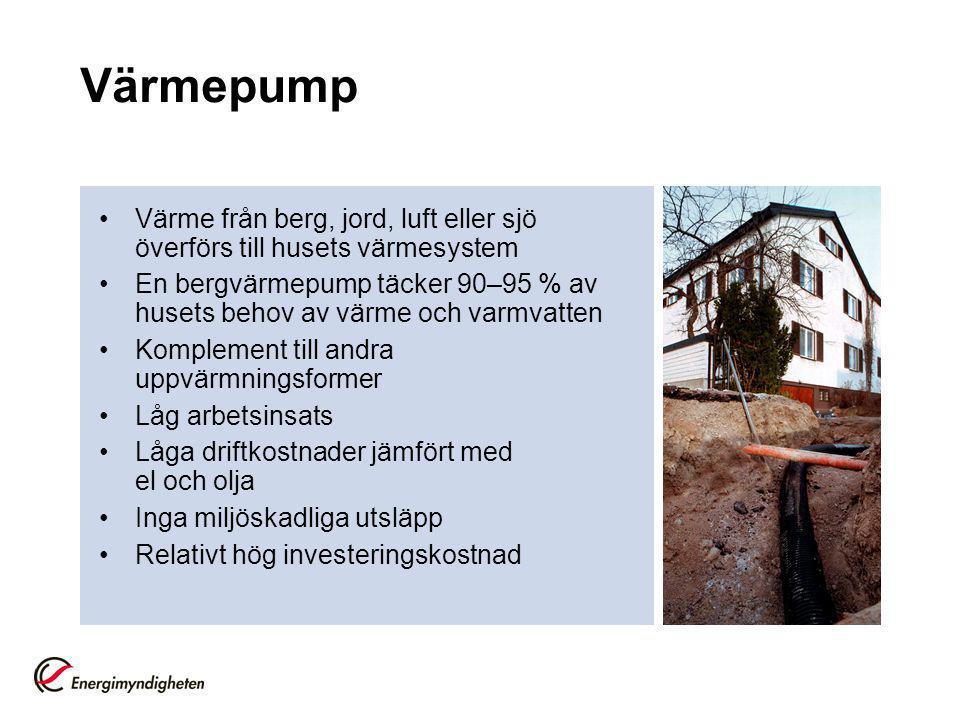 Värmepump Värme från berg, jord, luft eller sjö överförs till husets värmesystem.