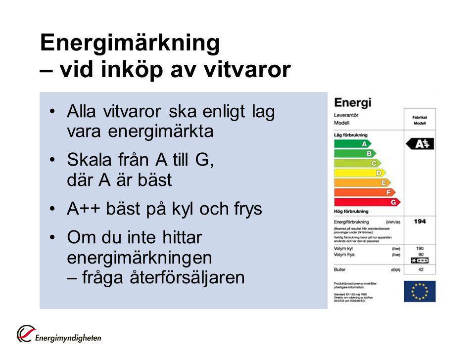 Energimärkning – vid inköp av vitvaror