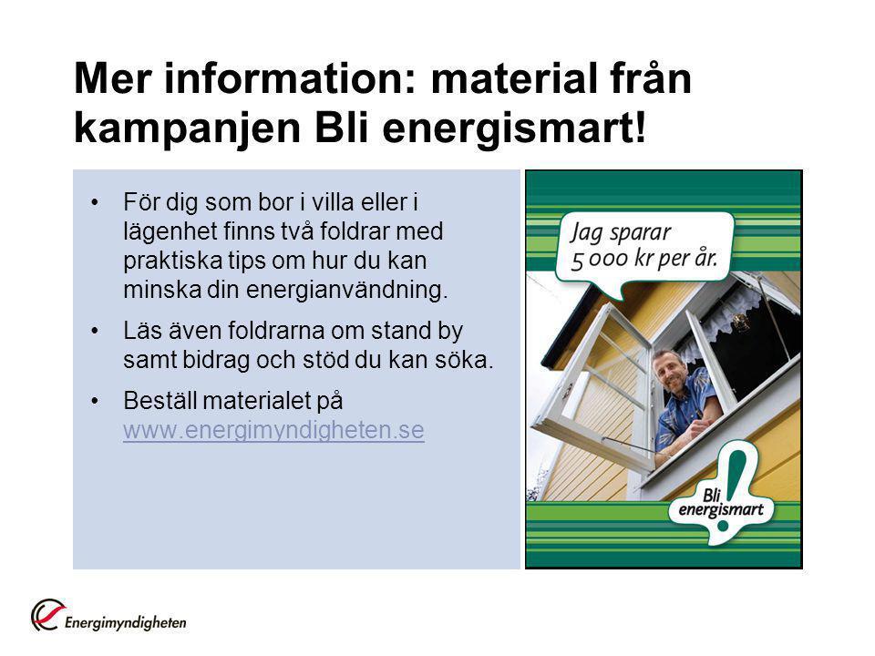 Mer information: material från kampanjen Bli energismart!