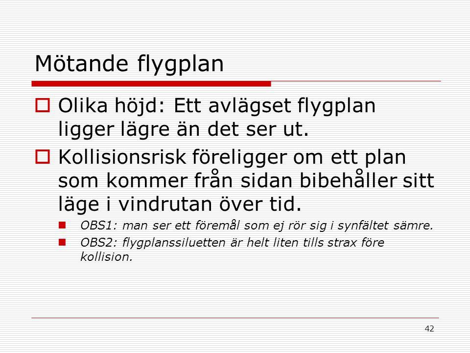 Mötande flygplan Olika höjd: Ett avlägset flygplan ligger lägre än det ser ut.