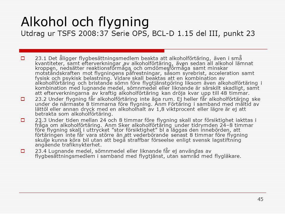 Alkohol och flygning Utdrag ur TSFS 2008:37 Serie OPS, BCL-D 1
