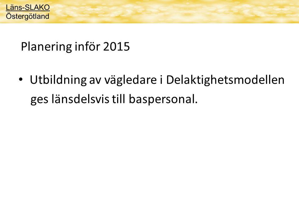 Planering inför 2015 Utbildning av vägledare i Delaktighetsmodellen.
