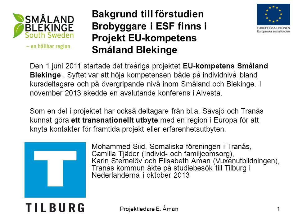 Bakgrund till förstudien Brobyggare i ESF finns i Projekt EU-kompetens Småland Blekinge