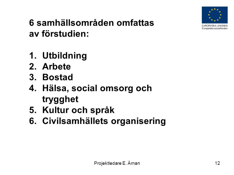 6 samhällsområden omfattas av förstudien: Utbildning Arbete Bostad