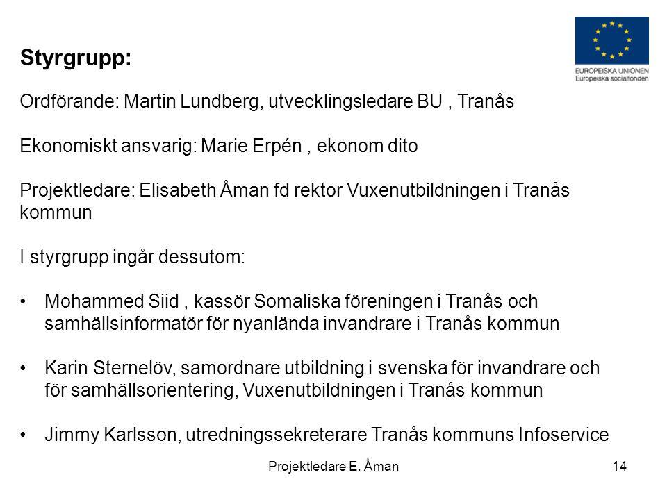 Styrgrupp: Ordförande: Martin Lundberg, utvecklingsledare BU , Tranås
