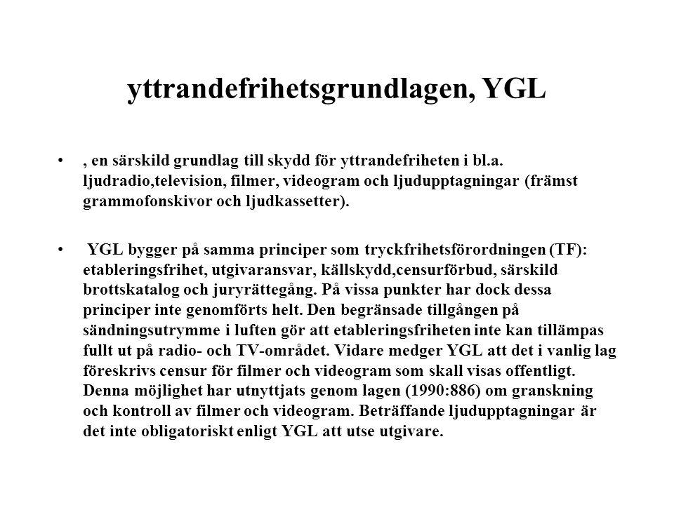 yttrandefrihetsgrundlagen, YGL