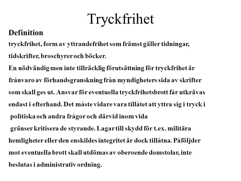 Tryckfrihet Definition