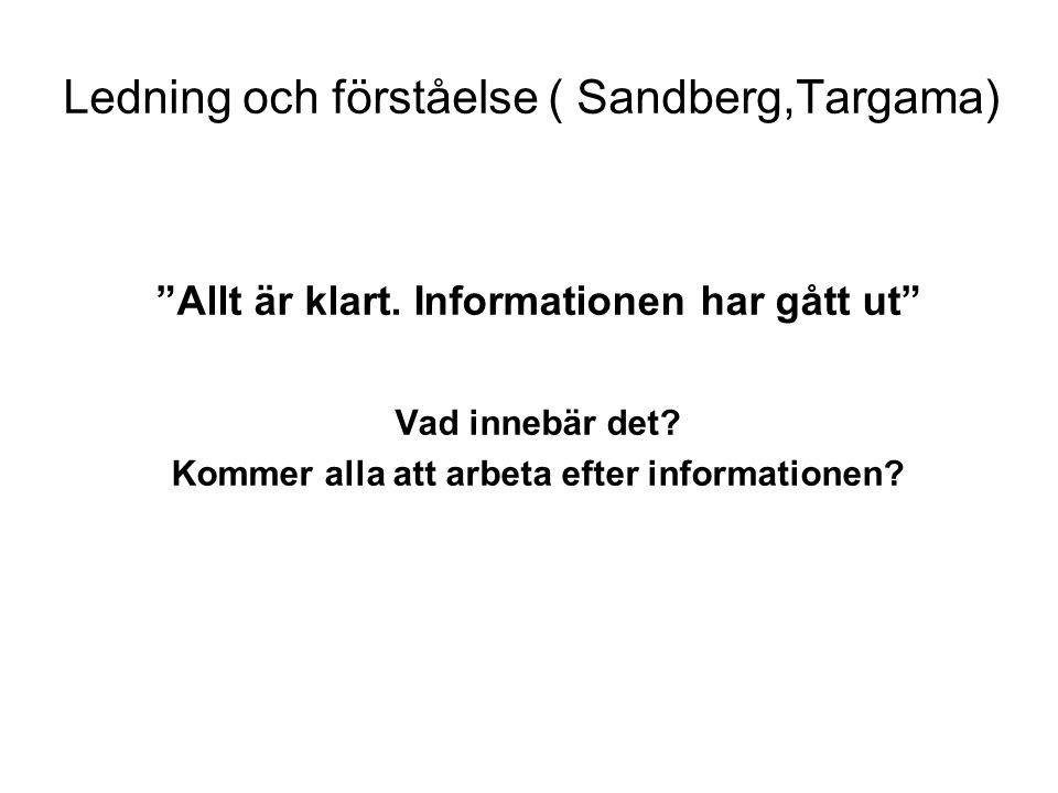 Ledning och förståelse ( Sandberg,Targama)
