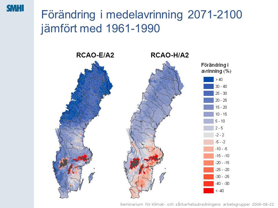 Förändring i medelavrinning 2071-2100 jämfört med 1961-1990