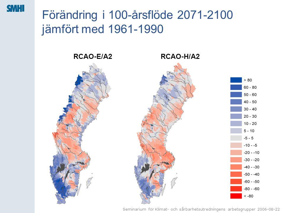 Förändring i 100-årsflöde 2071-2100 jämfört med 1961-1990