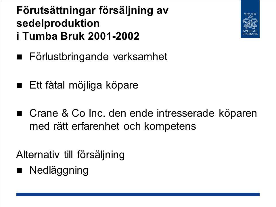 Förutsättningar försäljning av sedelproduktion i Tumba Bruk 2001-2002