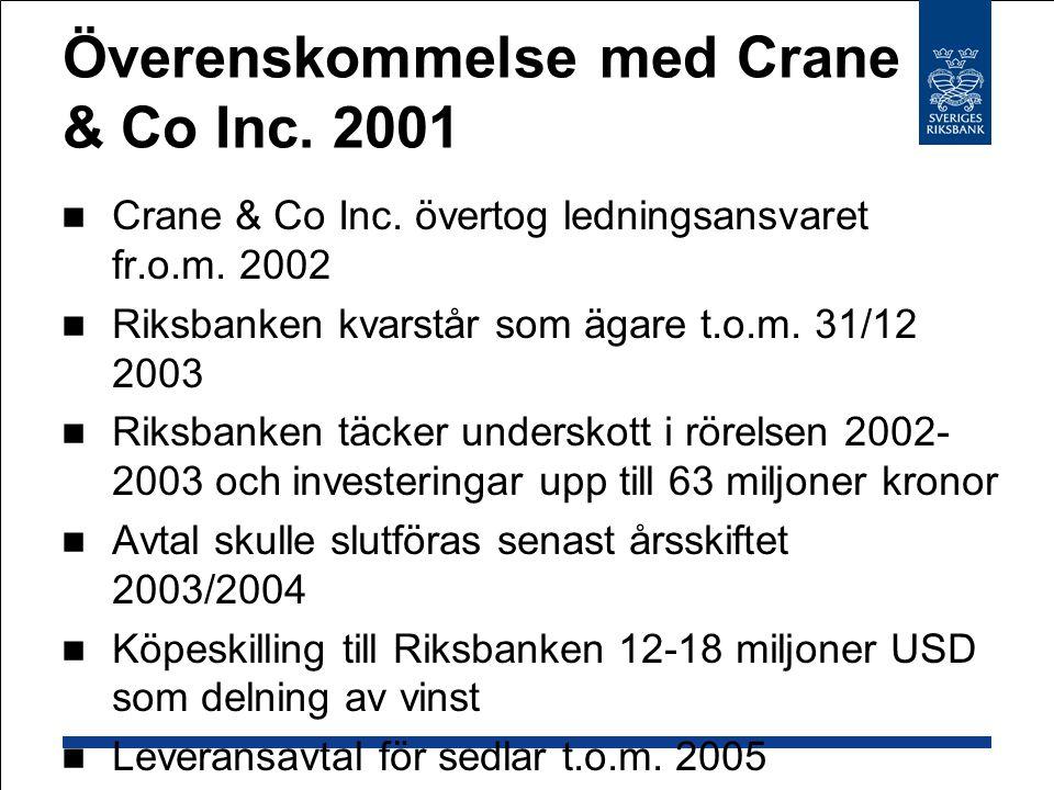 Överenskommelse med Crane & Co Inc. 2001