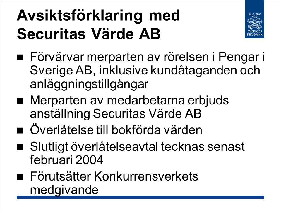 Avsiktsförklaring med Securitas Värde AB