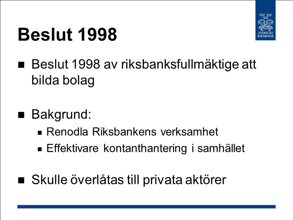 Beslut 1998 Beslut 1998 av riksbanksfullmäktige att bilda bolag