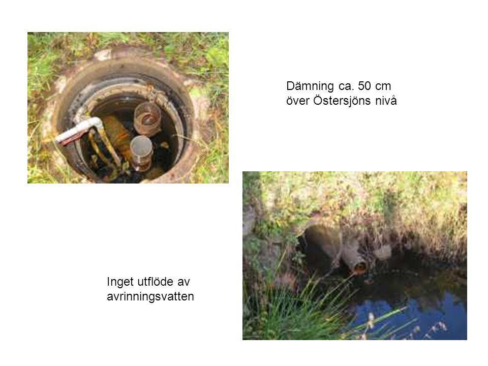 Dämning ca. 50 cm över Östersjöns nivå Inget utflöde av
