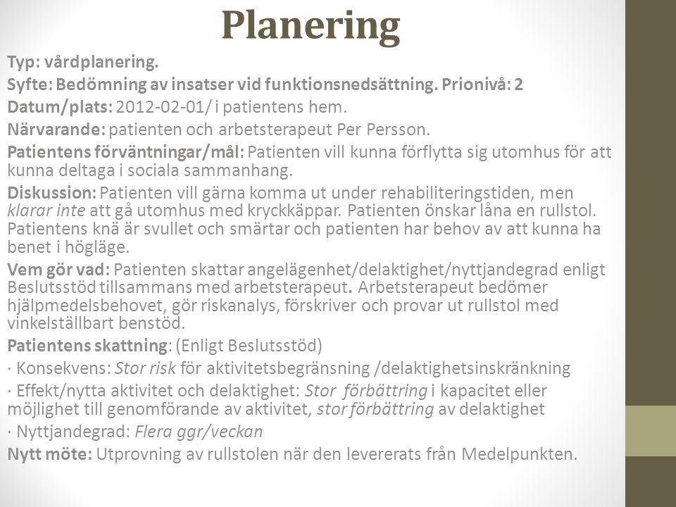 Planering Typ: vårdplanering.