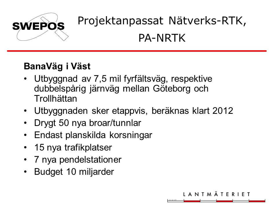 Projektanpassat Nätverks-RTK, PA-NRTK