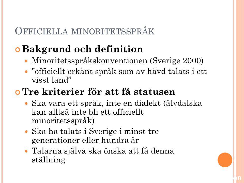 Officiella minoritetsspråk