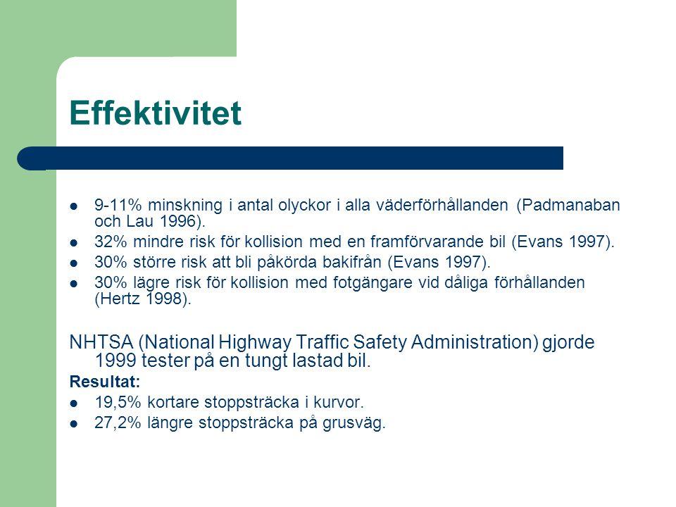 Effektivitet 9-11% minskning i antal olyckor i alla väderförhållanden (Padmanaban och Lau 1996).