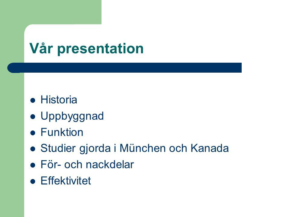 Vår presentation Historia Uppbyggnad Funktion