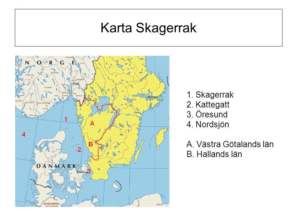 Karta Skagerrak 1. Skagerrak 2. Kattegatt 3. Öresund 4. Nordsjön