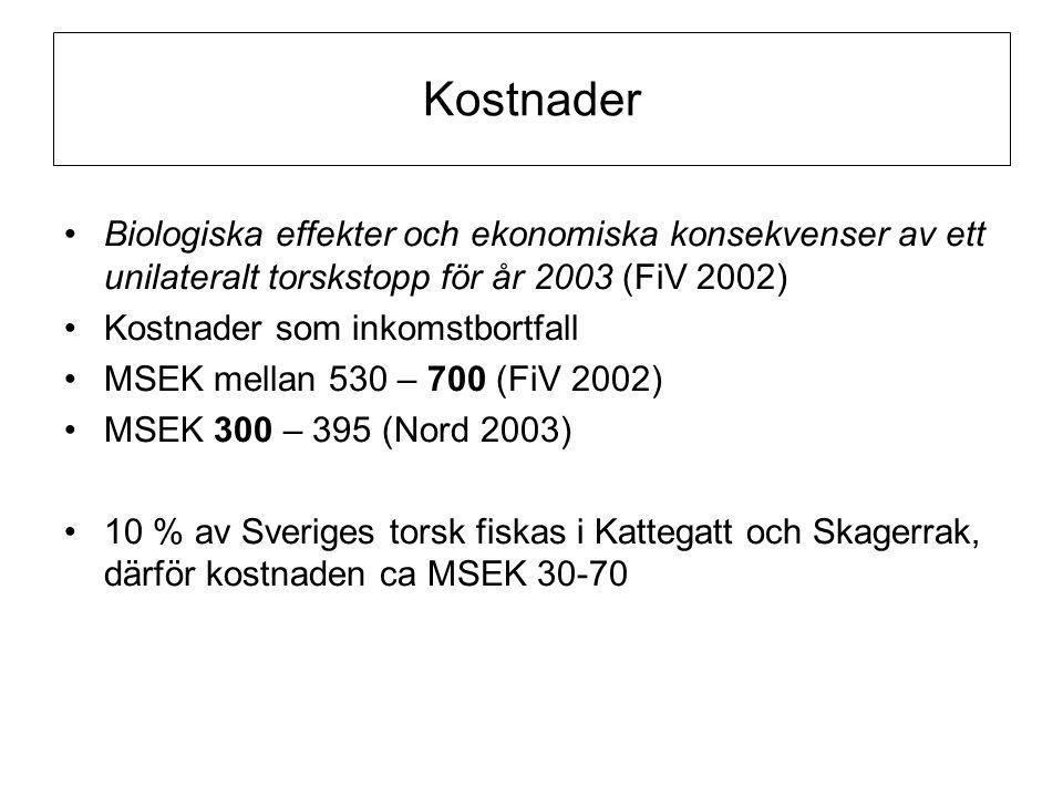 Kostnader Biologiska effekter och ekonomiska konsekvenser av ett unilateralt torskstopp för år 2003 (FiV 2002)