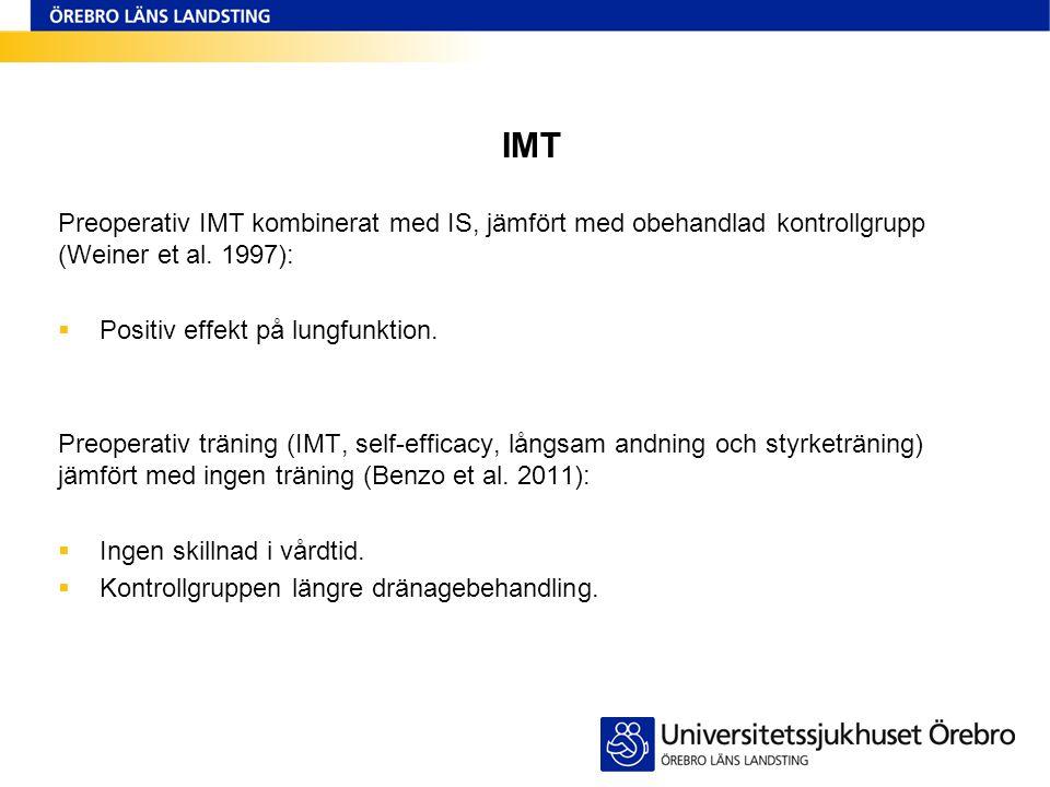 IMT Preoperativ IMT kombinerat med IS, jämfört med obehandlad kontrollgrupp (Weiner et al. 1997): Positiv effekt på lungfunktion.