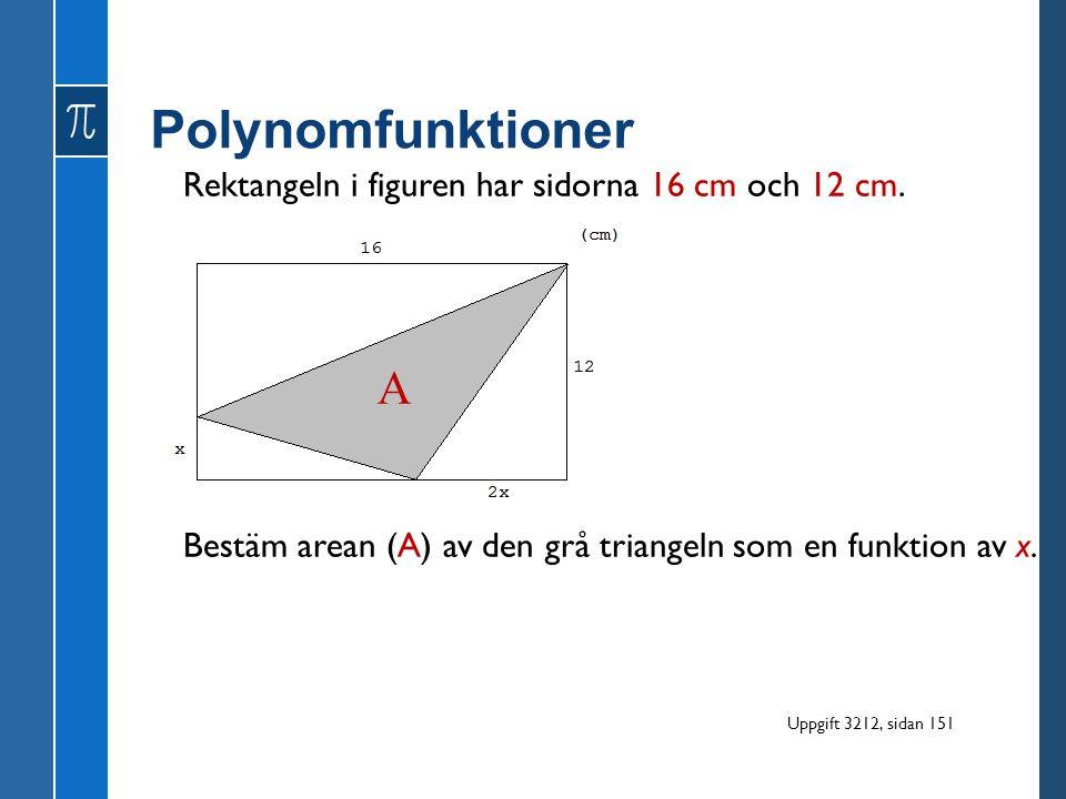 Polynomfunktioner A Rektangeln i figuren har sidorna 16 cm och 12 cm.