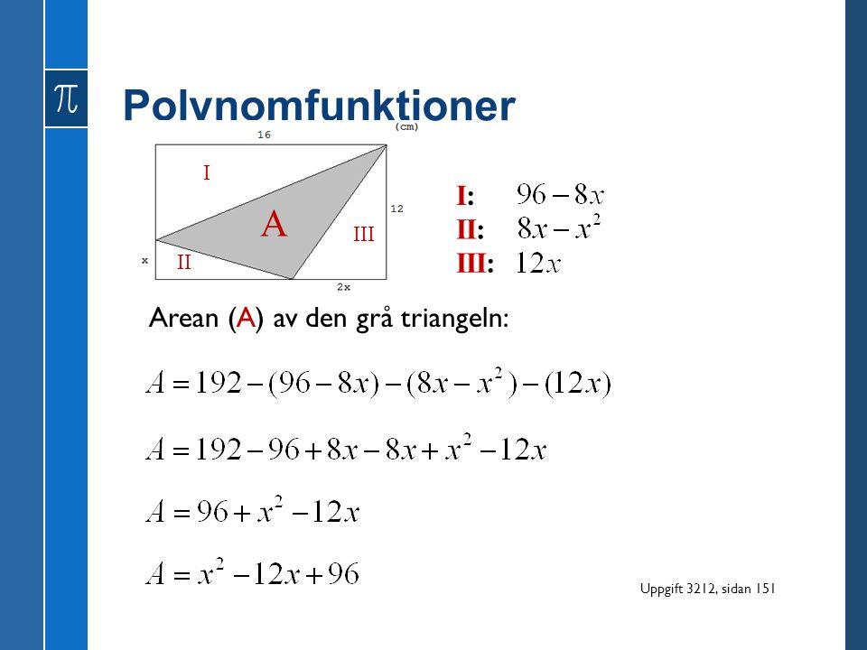 Polynomfunktioner A I: II: III: Arean (A) av den grå triangeln: I III