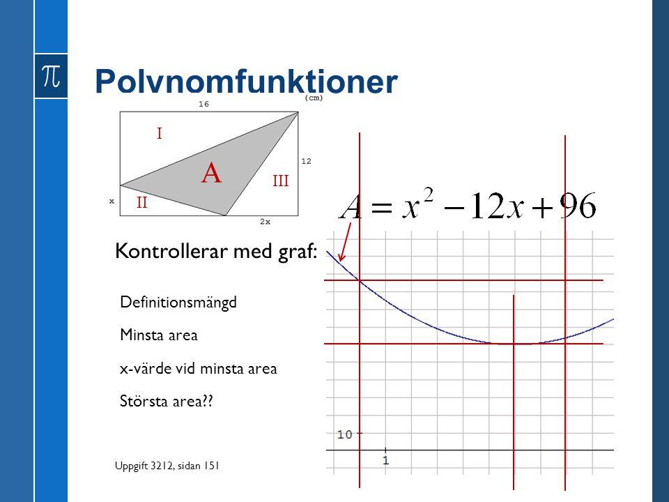 Polynomfunktioner A Kontrollerar med graf: I III II Definitionsmängd