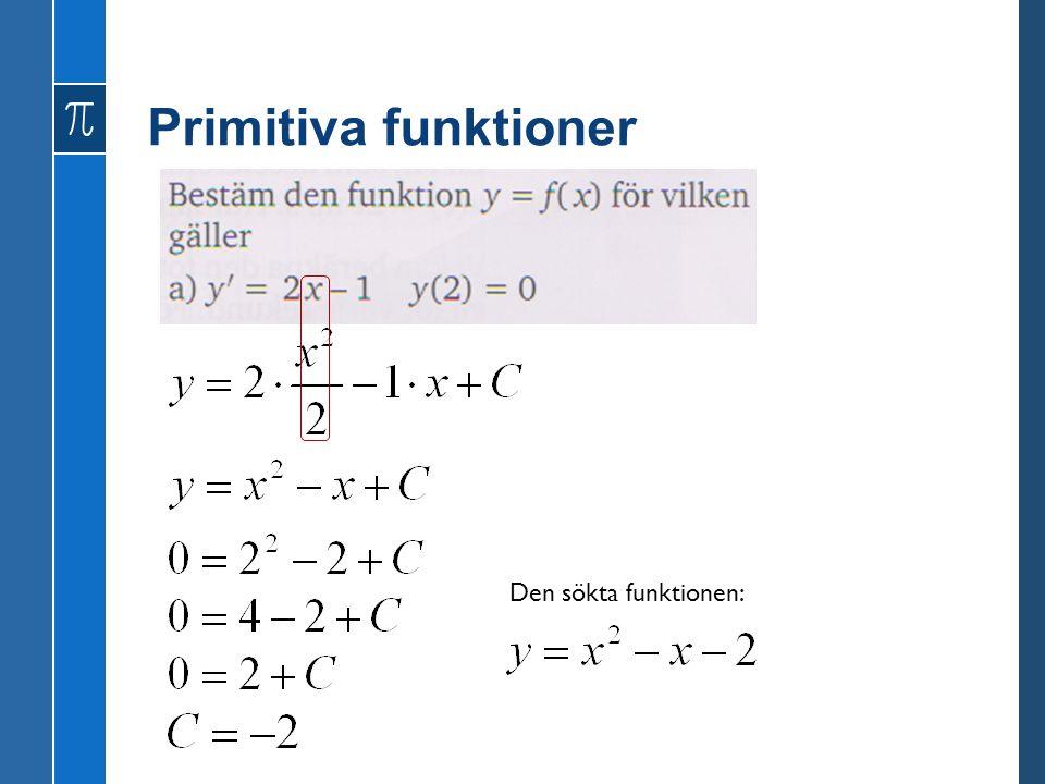 Primitiva funktioner Den sökta funktionen:
