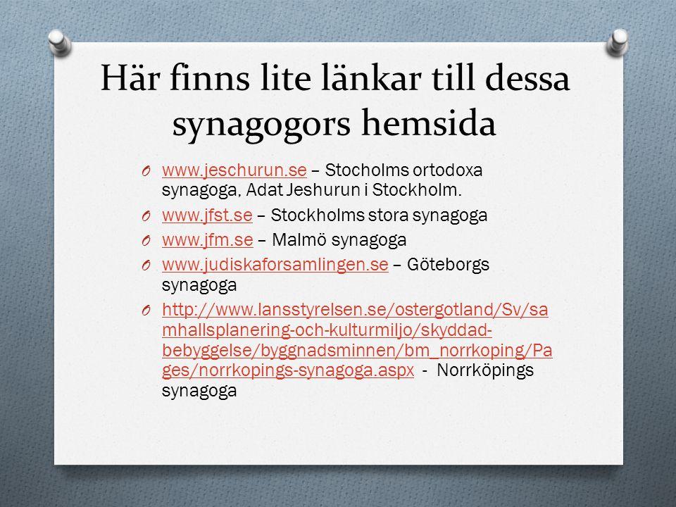 Här finns lite länkar till dessa synagogors hemsida