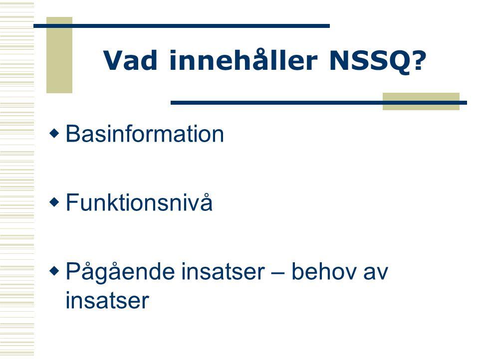 Vad innehåller NSSQ Basinformation Funktionsnivå