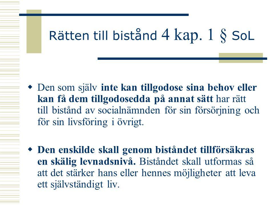 Rätten till bistånd 4 kap. 1 § SoL