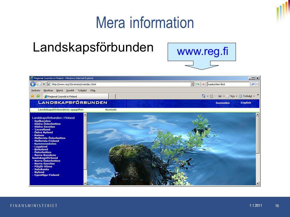 Mera information Landskapsförbunden www.reg.fi