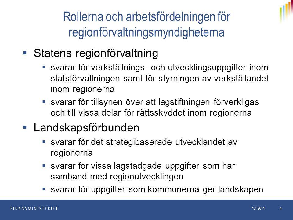 Rollerna och arbetsfördelningen för regionförvaltningsmyndigheterna