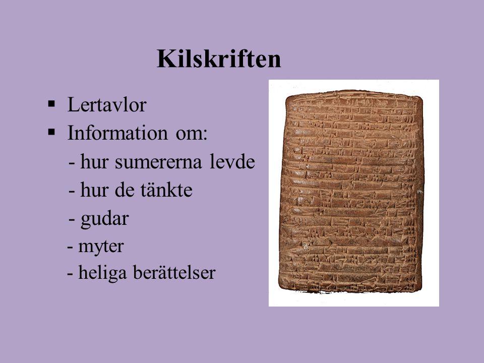 Kilskriften Lertavlor Information om: - hur sumererna levde