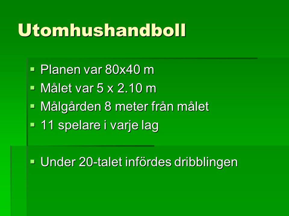Utomhushandboll Planen var 80x40 m Målet var 5 x 2.10 m