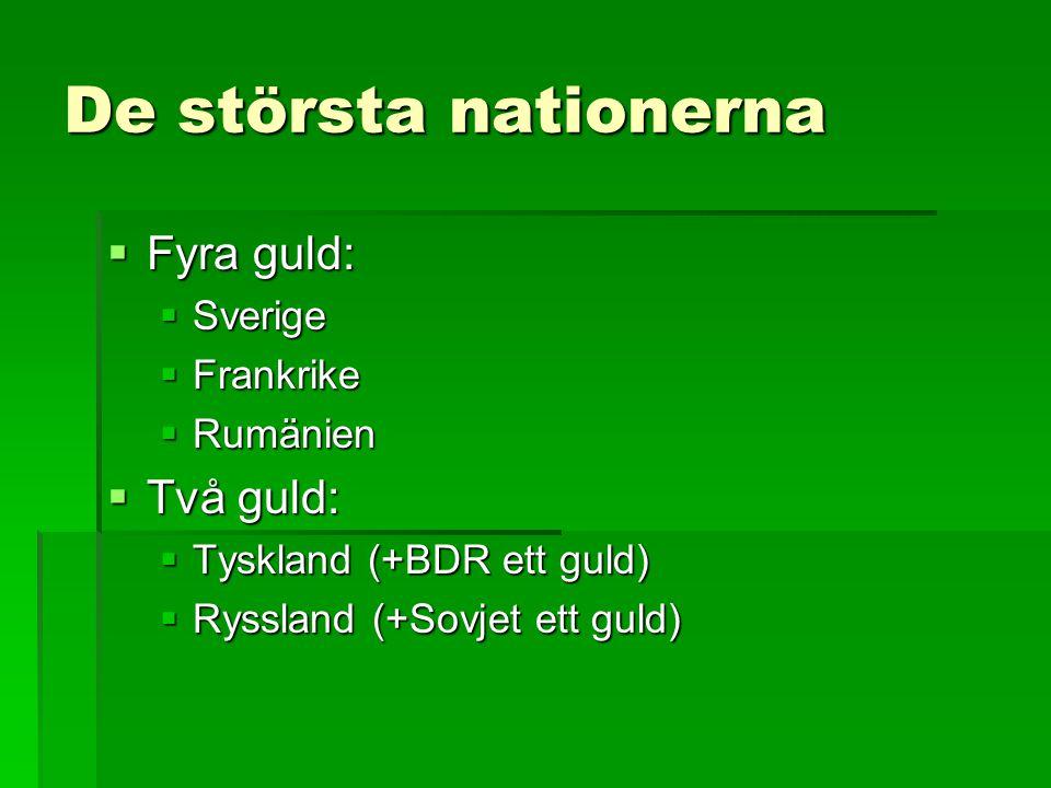 De största nationerna Fyra guld: Två guld: Sverige Frankrike Rumänien
