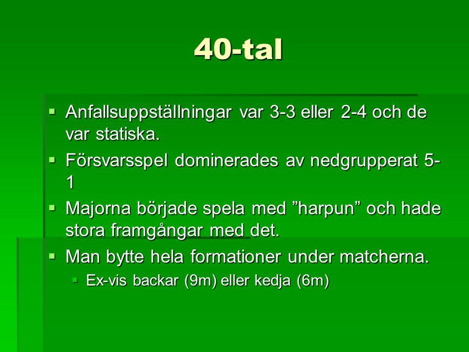 40-tal Anfallsuppställningar var 3-3 eller 2-4 och de var statiska.