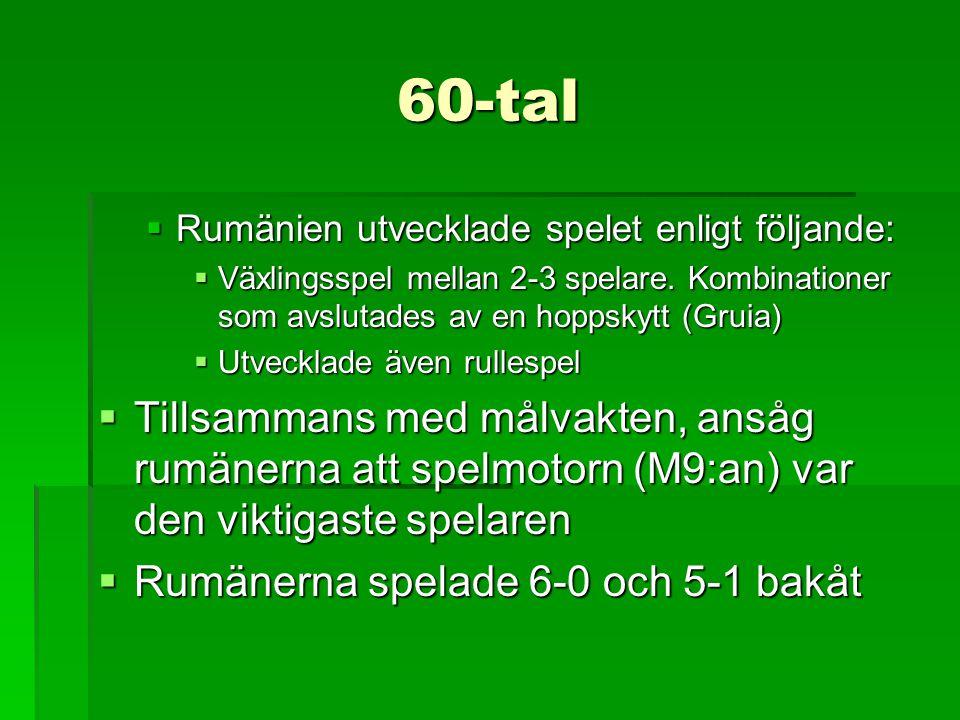 60-tal Rumänien utvecklade spelet enligt följande: Växlingsspel mellan 2-3 spelare. Kombinationer som avslutades av en hoppskytt (Gruia)