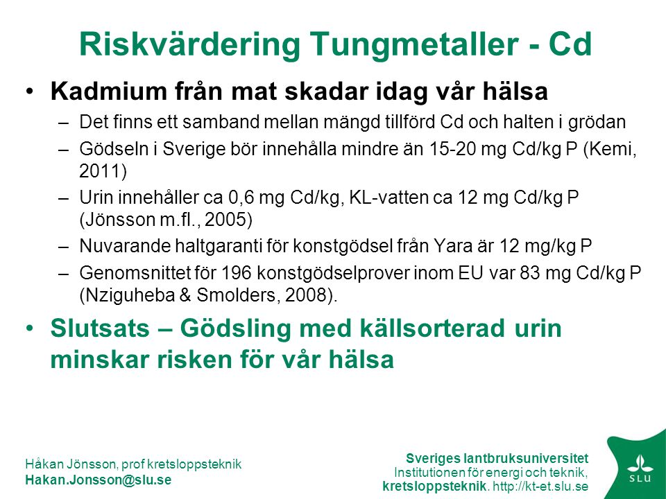 Riskvärdering Tungmetaller - Cd